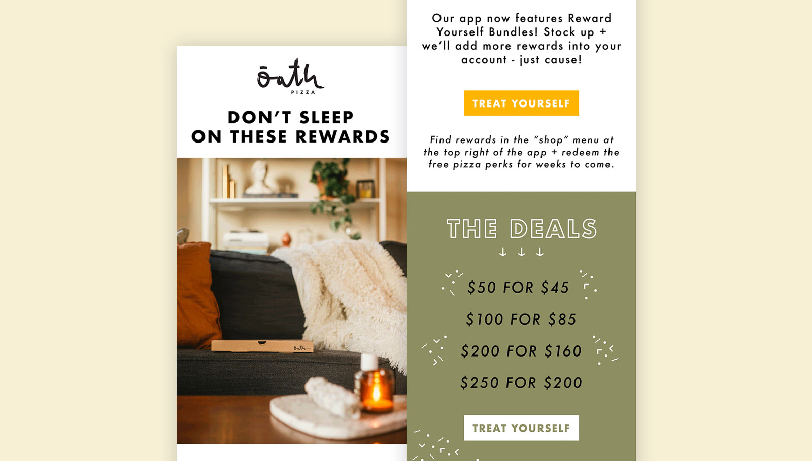 Oath Pizza exclusive deals example email