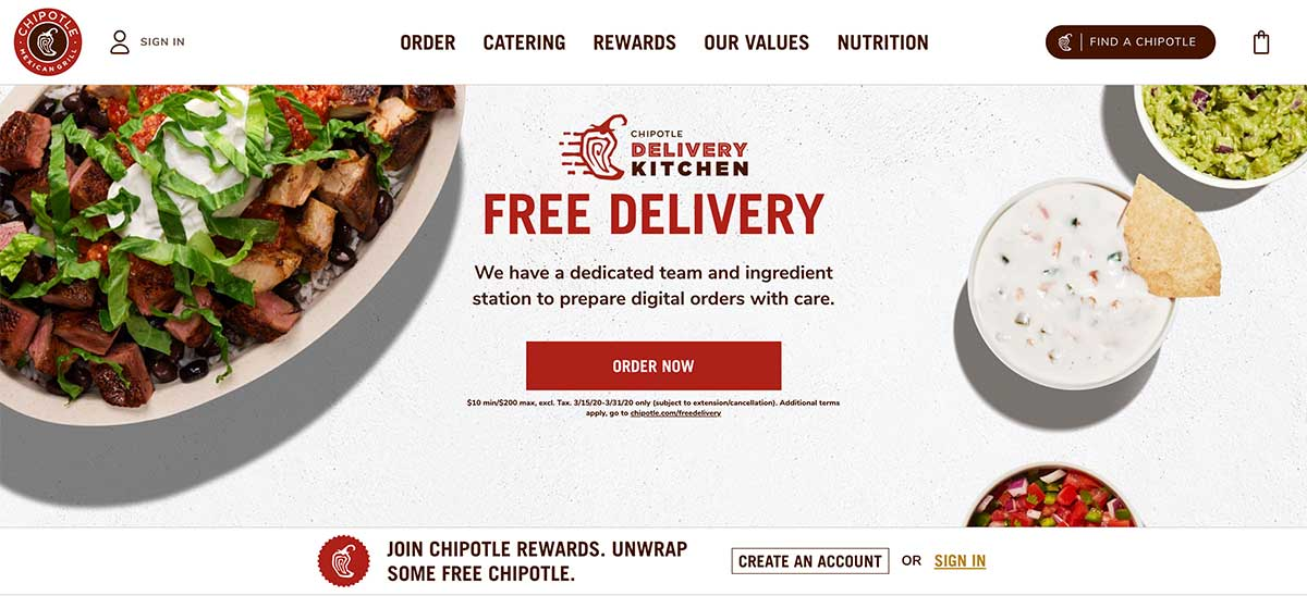 Chipotle homepage.