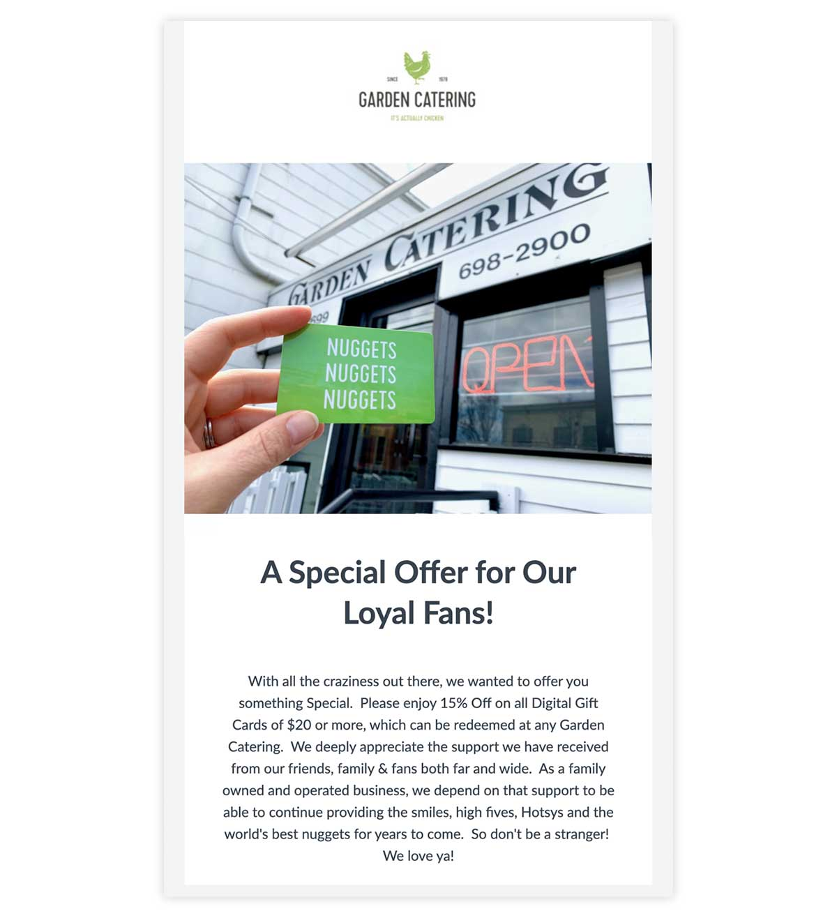 Garden Catering gift card email promotion.