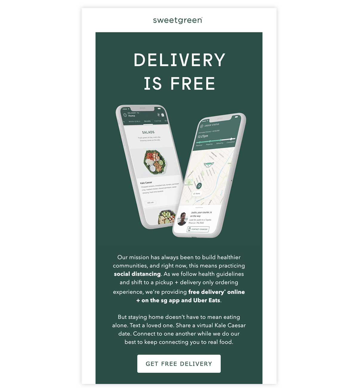 sweetgreen email promoting free delivery.