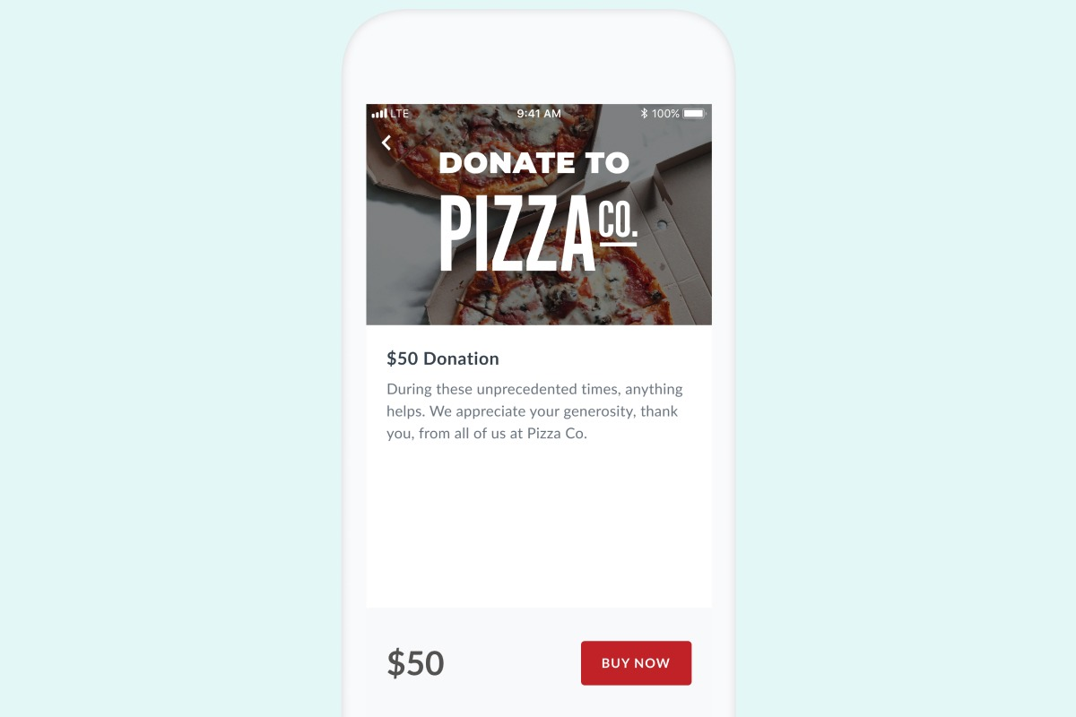 In-app donation example from Thanx