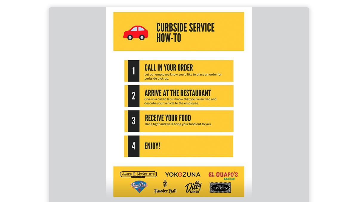 McNellie's email showing curbside service instructions.