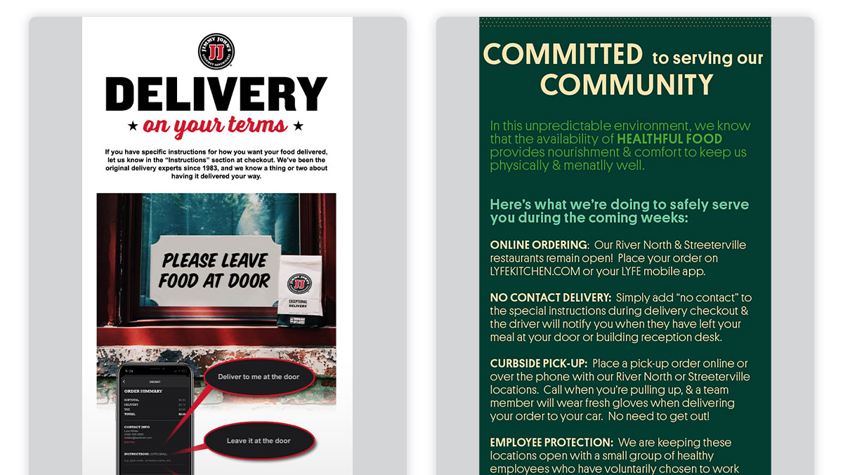 Left: Jimmy John's email showing detailed contactless delivery instructions. Right: Lyfe Kitchen email explaining detailed takeout and delivery instructions.