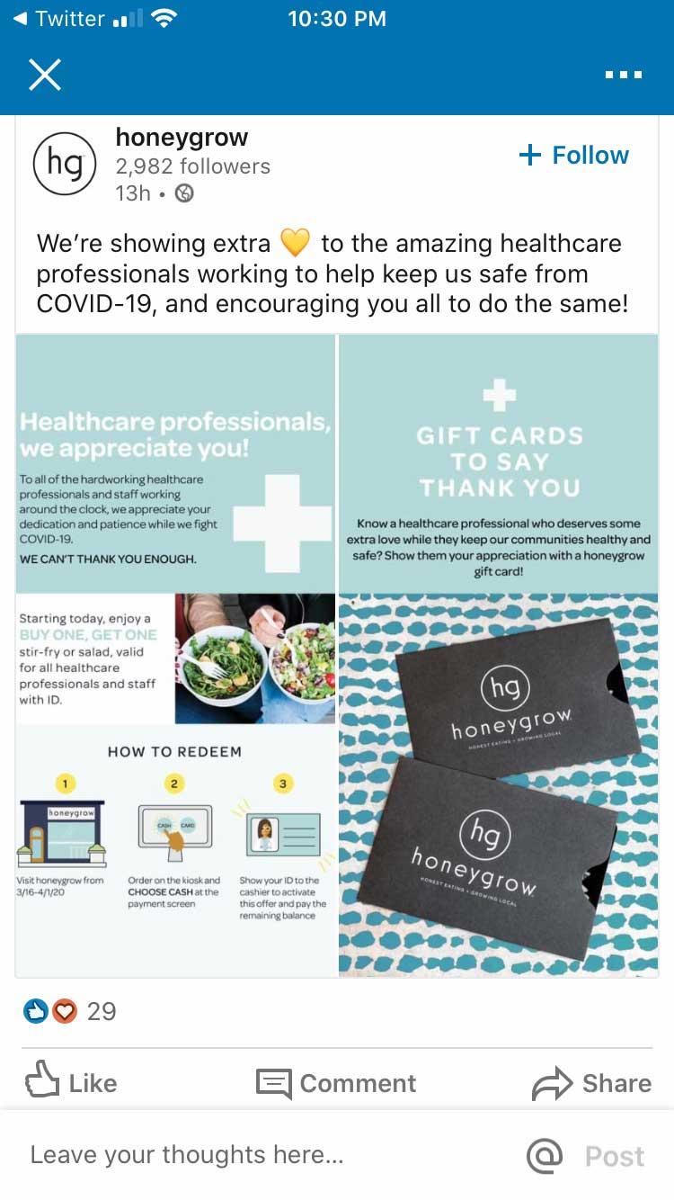 Honeygrow LinkedIn gift card promotion.
