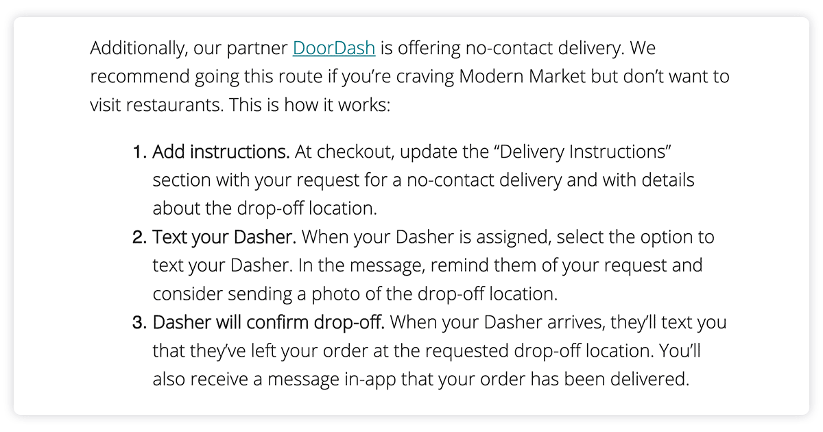 Modern Market email with instructions for contactless delivery via DoorDash.