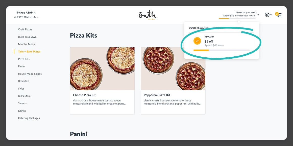 Oath Pizza web ordering experience from Thanx highlighting integrated rewards