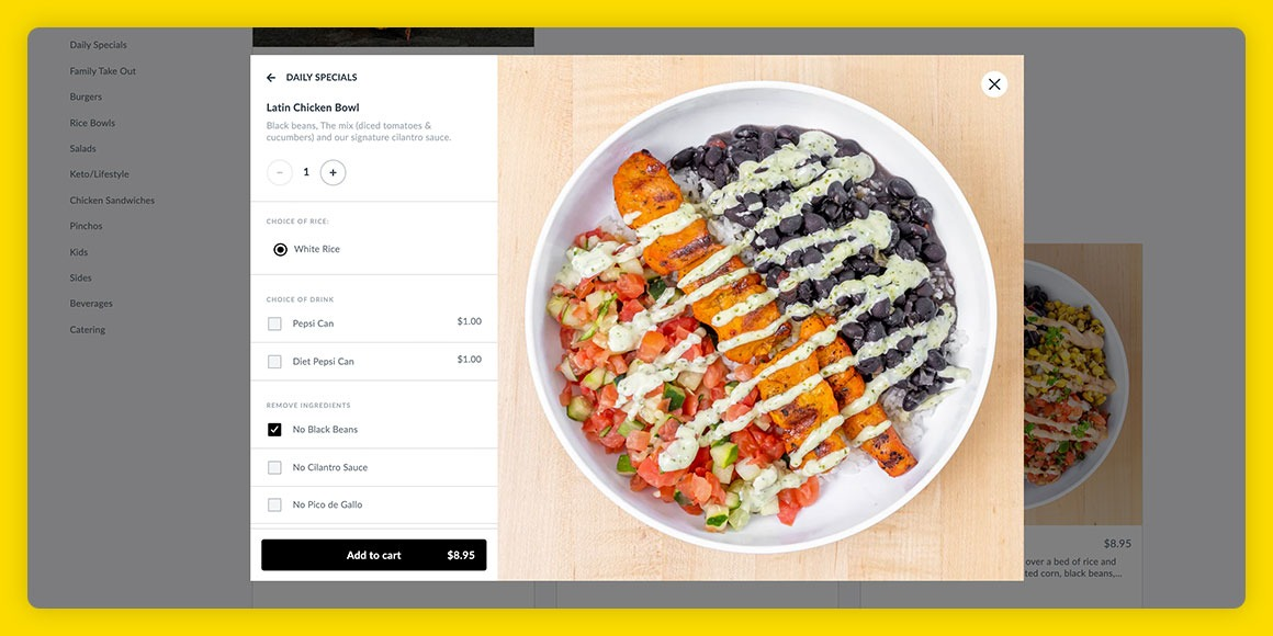 PINCHO web ordering experience by Thanx highlighting a menu item