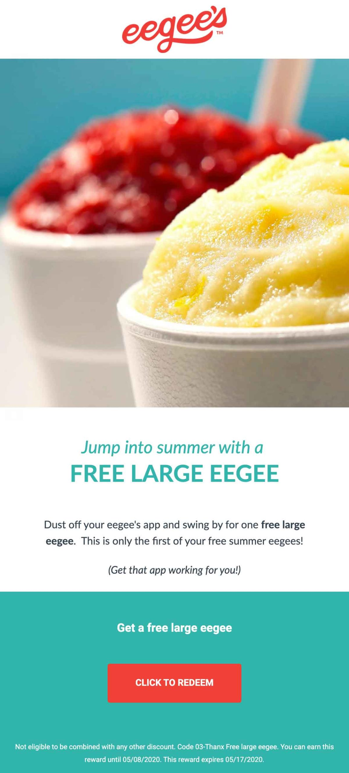 Eegee's: Free Large Eegee Email