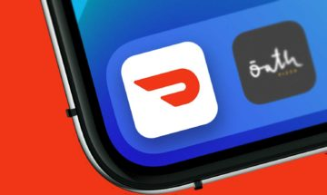 DoorDash app icon on tilted iPhone screen