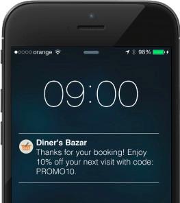 Diner's Bazar SMS notification