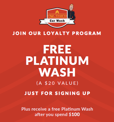 Sgt Clean's loyalty sign up offer