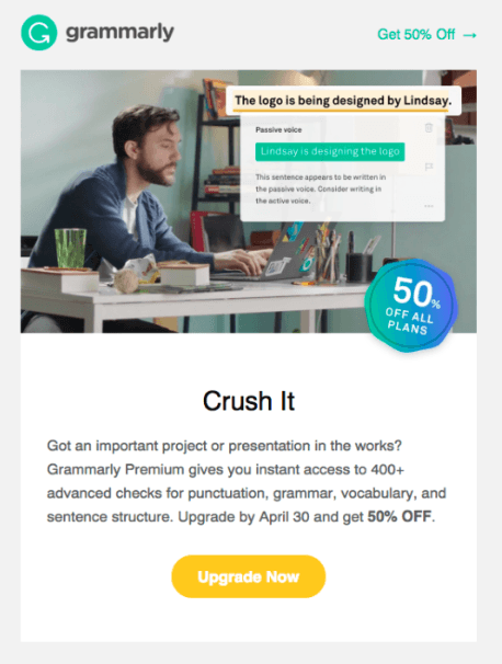 Upsell offer from Grammarly