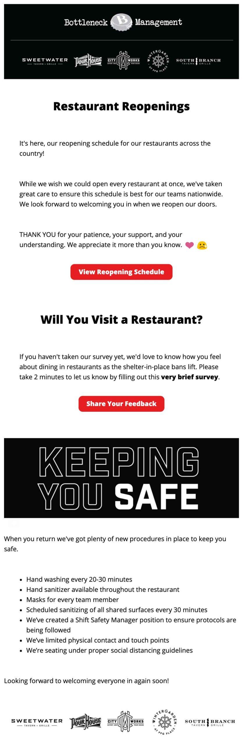 Bottleneck Management: Restaurant Reopenings Email