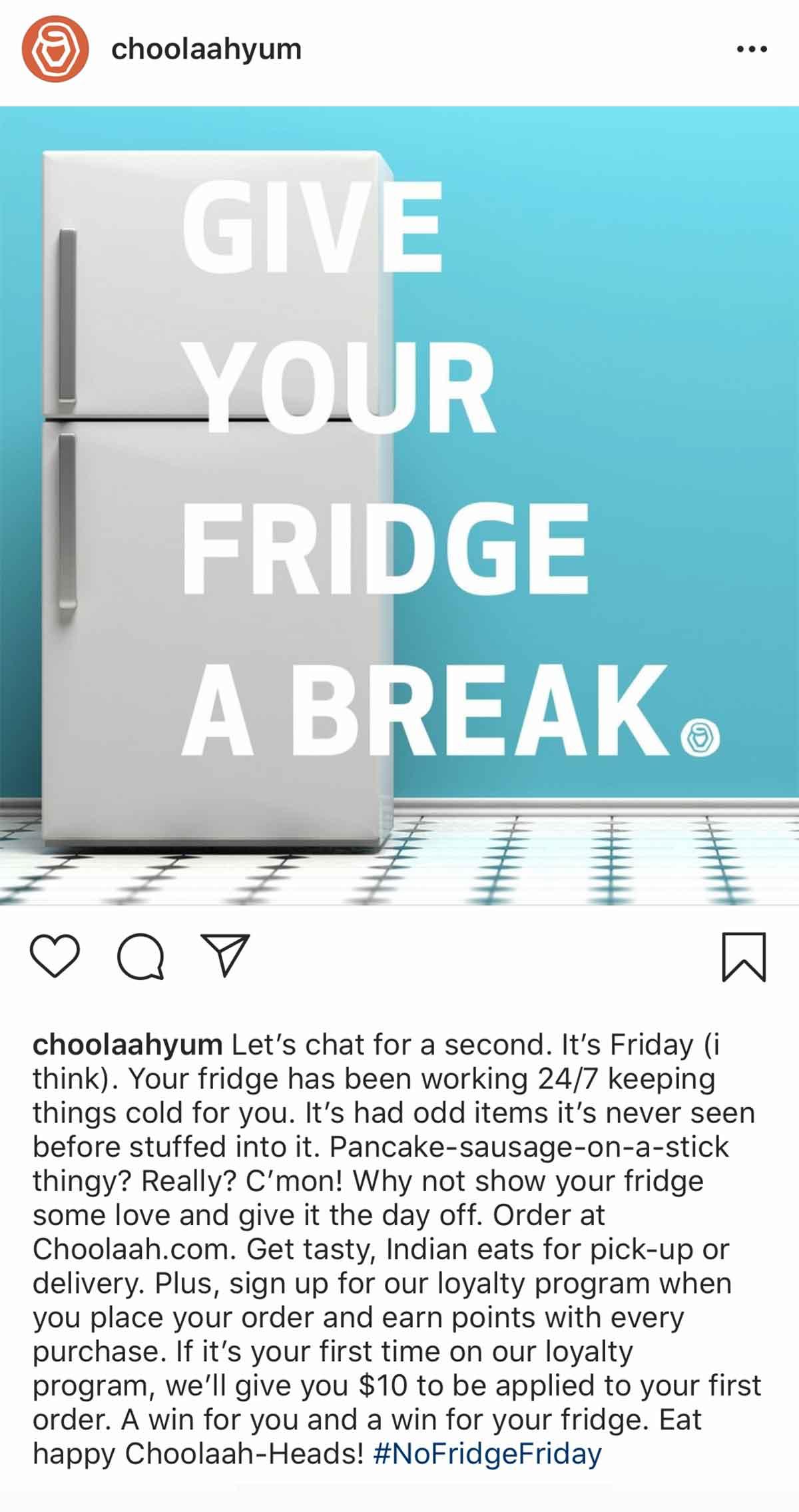 Choolah Instagram: Give your fridge a break post
