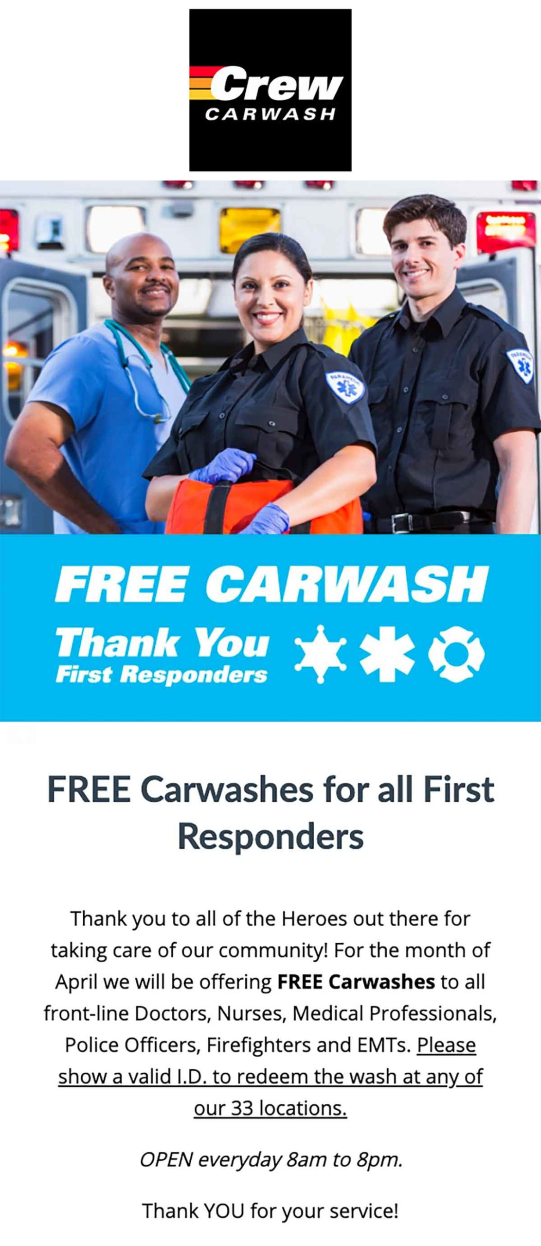 Crew Carwash: Free Carwashes for First Responders