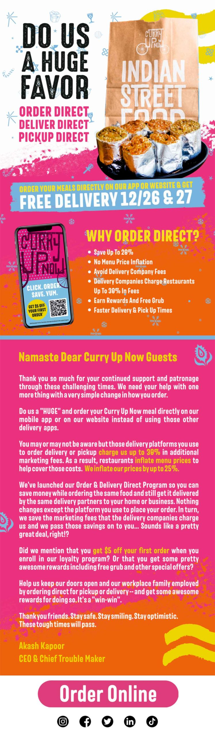 Curry Up Now email about ordering direct