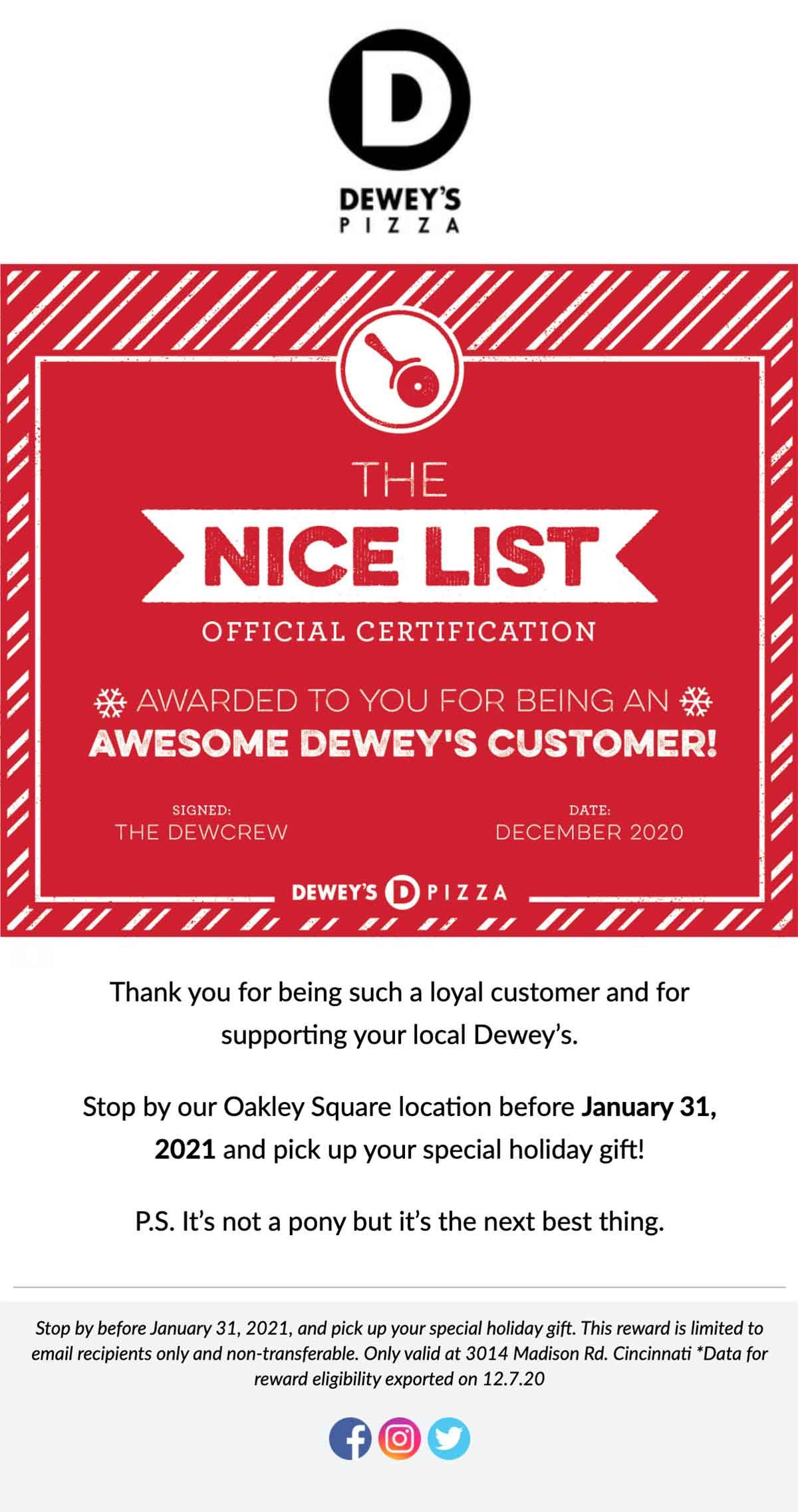 Dewey's Nice List Email