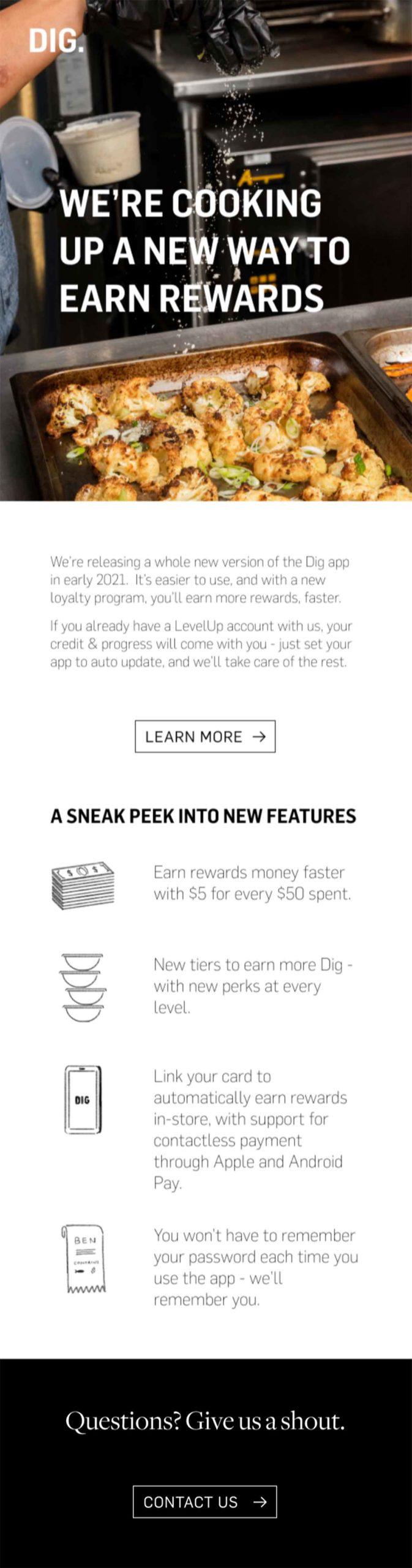 DIG INN new rewards email