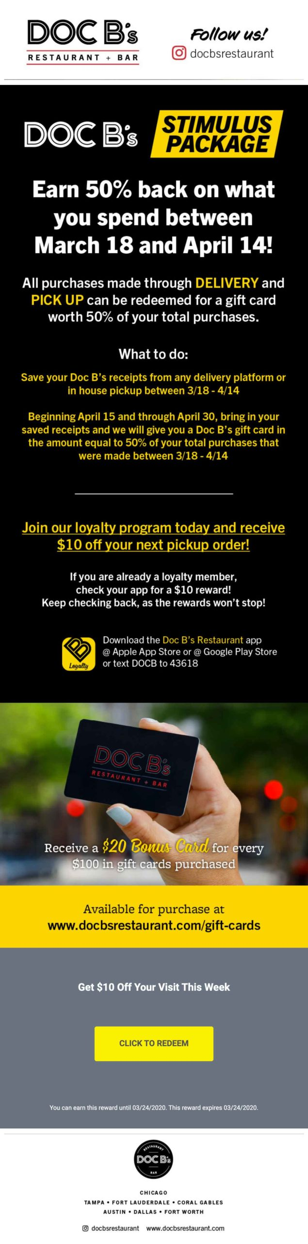 Doc B's Restaurant Earn 50% Back On Your Purchases & $10 Off email