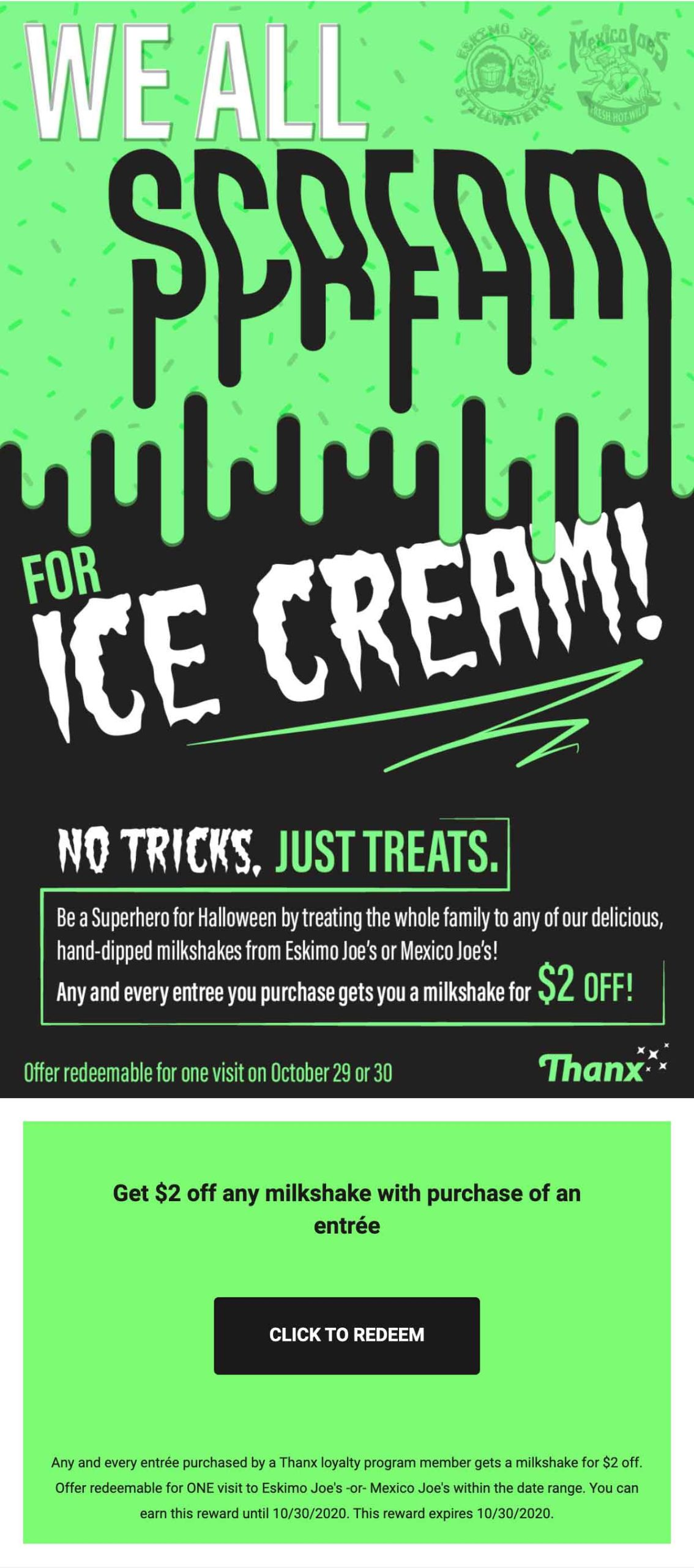 Eskimo Joes we scream for ice cream email