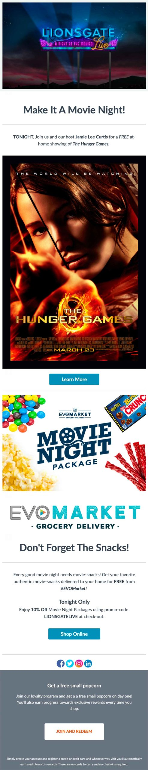 EVO: Join us & Jamie Lee Curtis Tonight for The Hunger Games Email