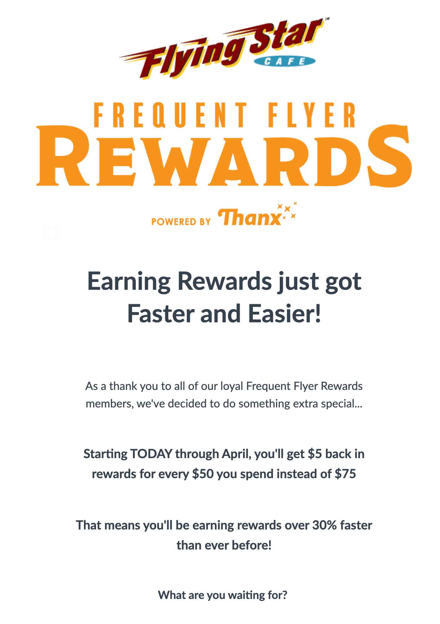 Flying Star Cafe Frequent Flyer Rewards email