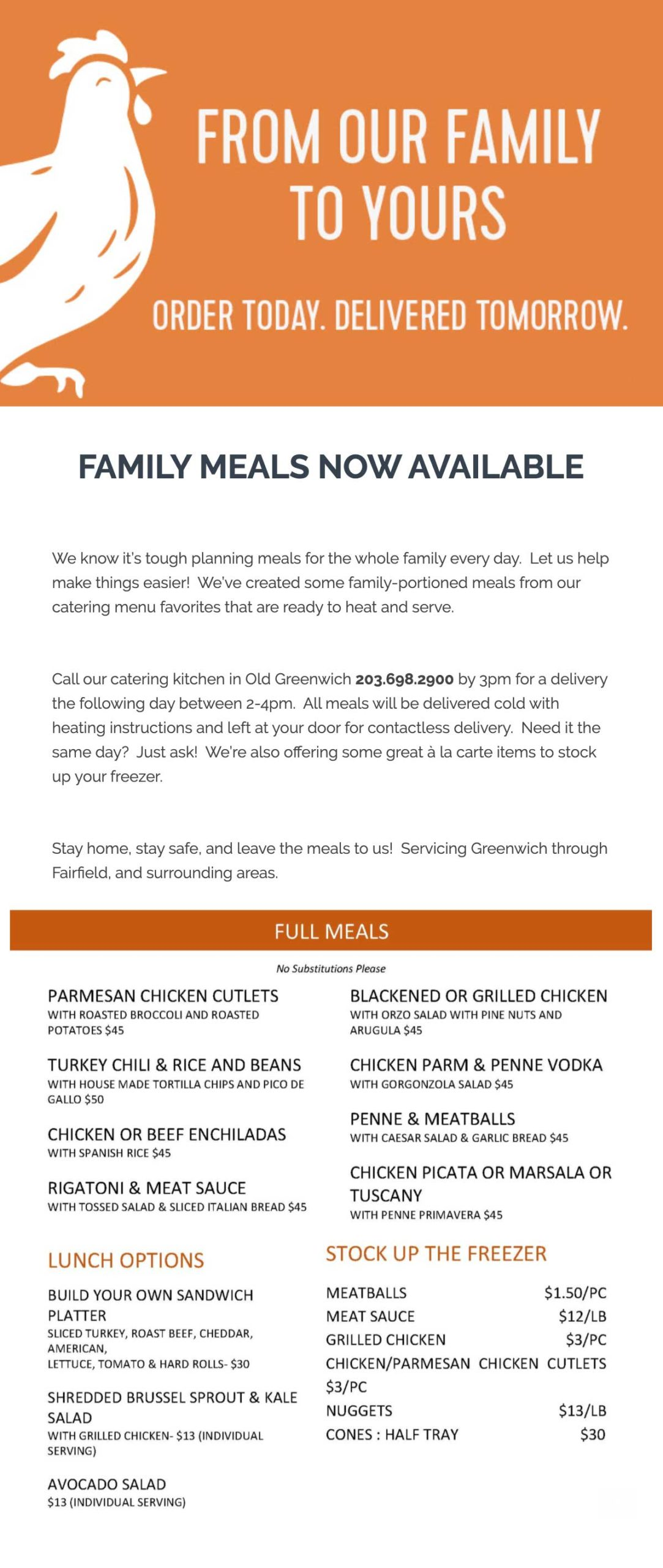 Garden Catering family meals email