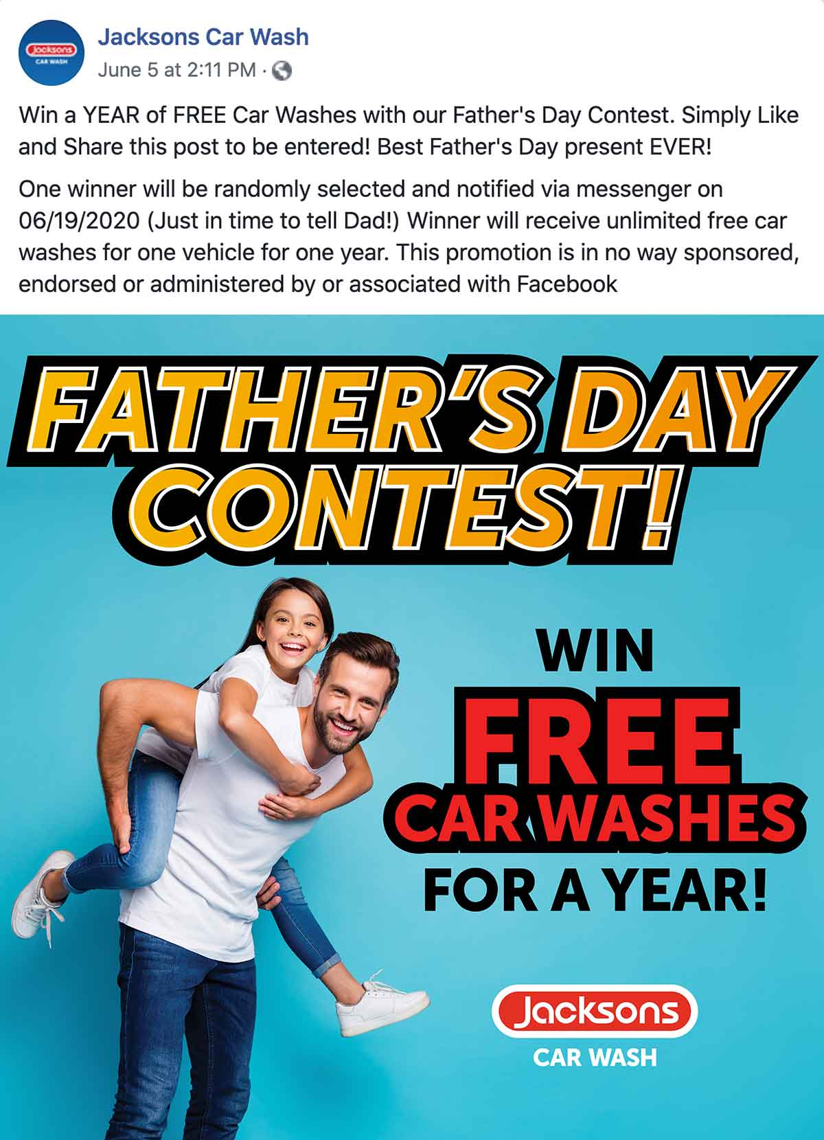 Jacksons Car Wash: Win a Year of Free Car Washes for Father's Day Facebook Post