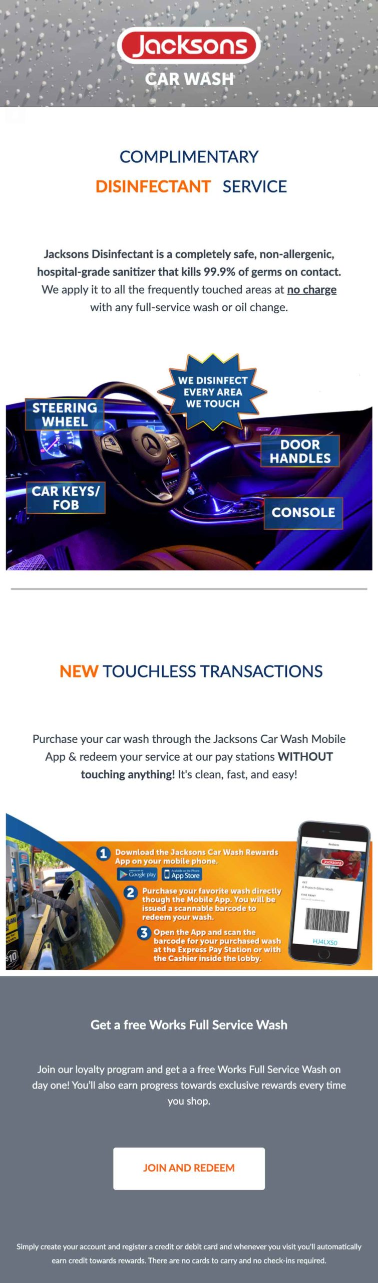 Jacksons Car Wash email update