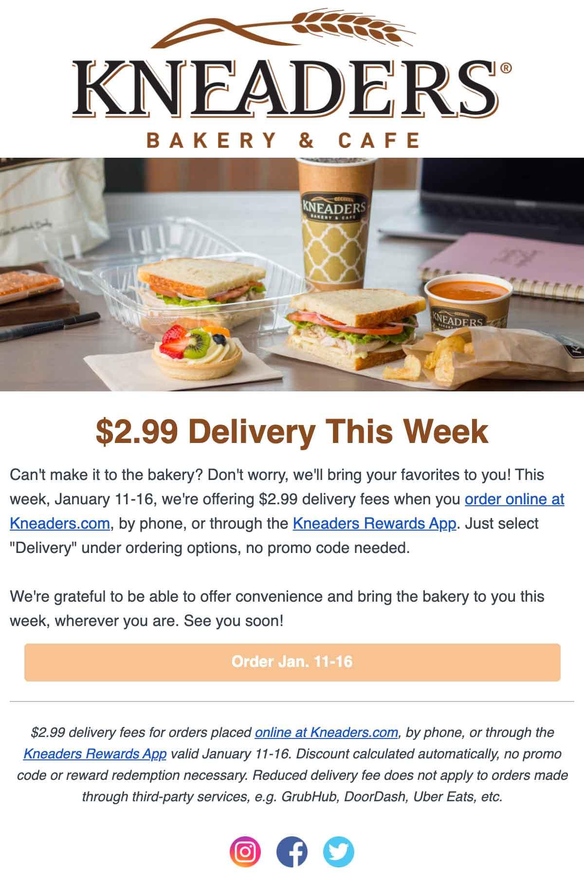 Kneaders $2.99 Delivery Week Email