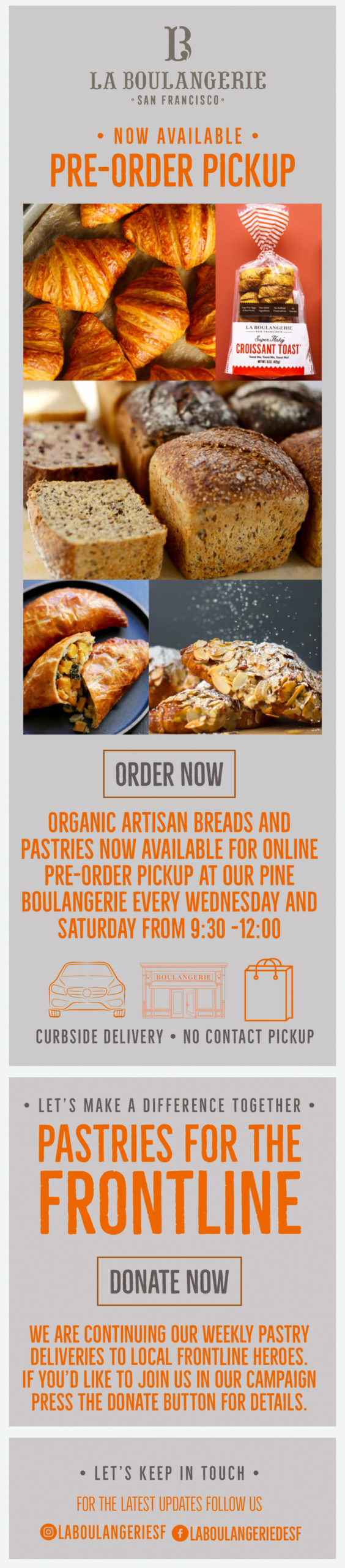 La Boulangerie - Email: Pre-Order Pickup Now Available