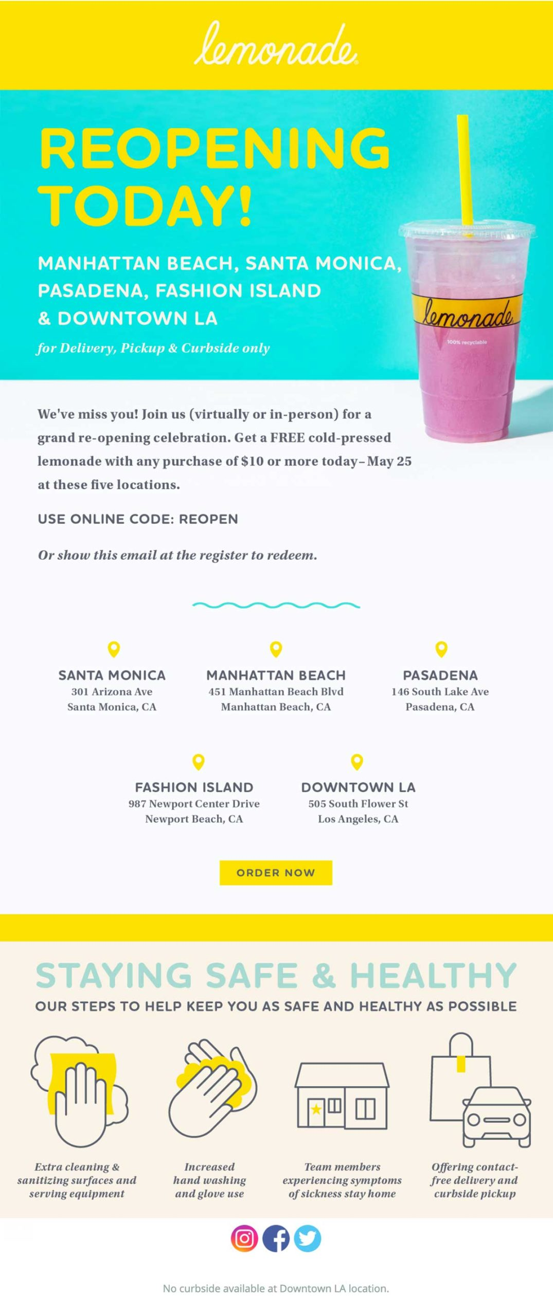 Lemonade: Reopening Today Email