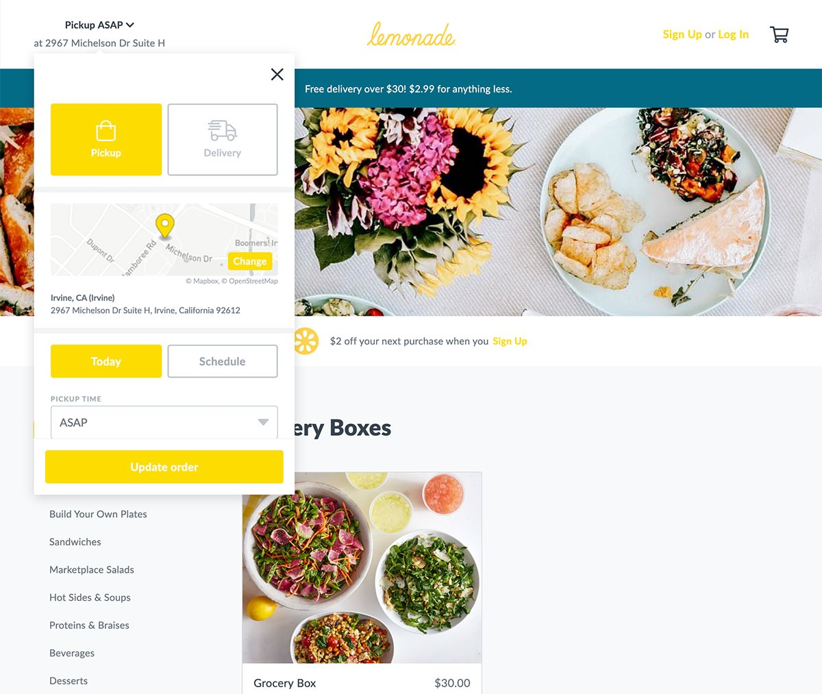 Lemonade desktop ordering experience via Thanx