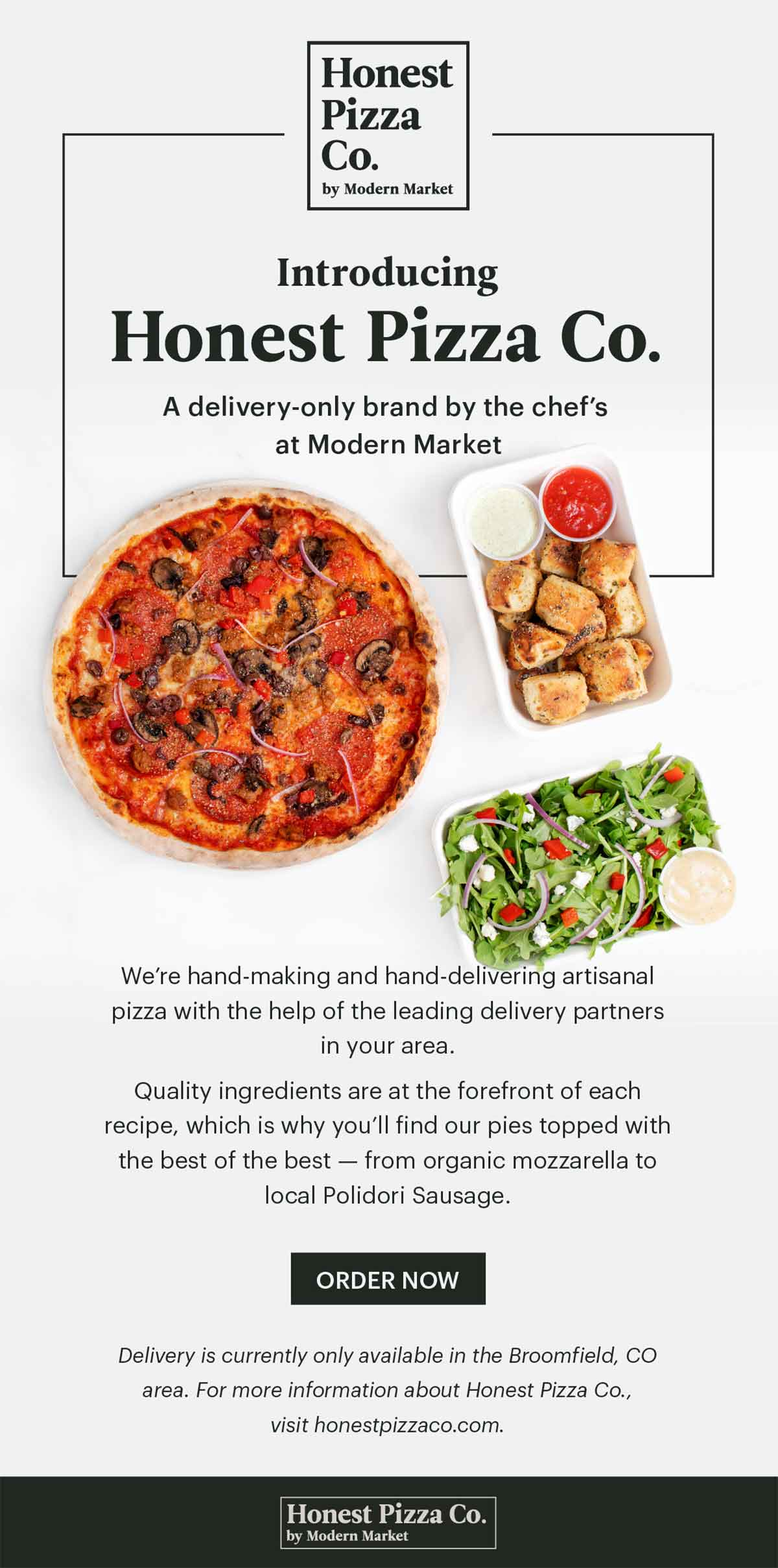 Modern Market Honest Pizza Co. Intro Email