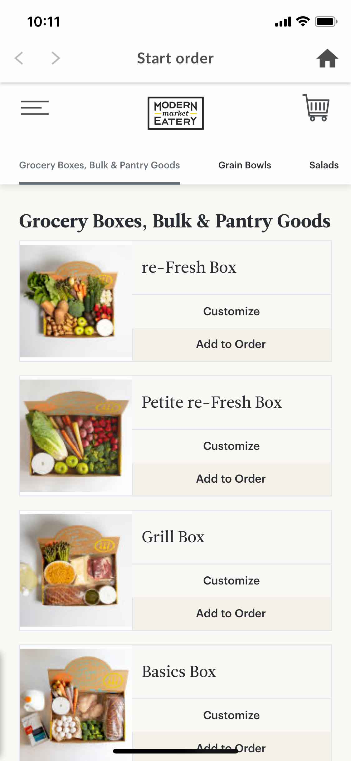 Modern Market: Grocery Boxes mobile app ordering