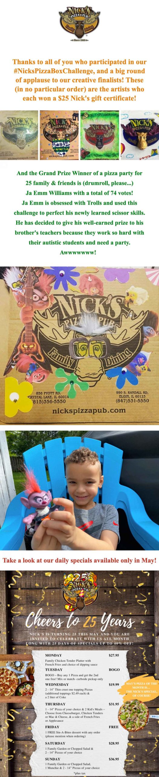 Nick's Pizza & Pub: #NicksPizzaBoxChallenge Winners Email