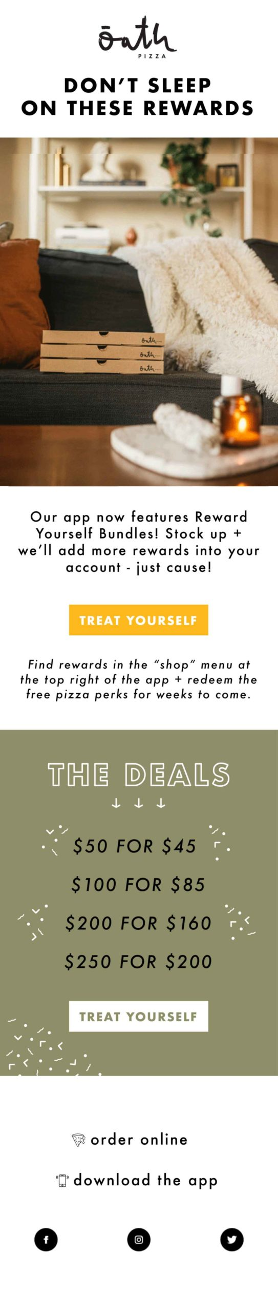 Oath Pizza don't sleep on these deals email