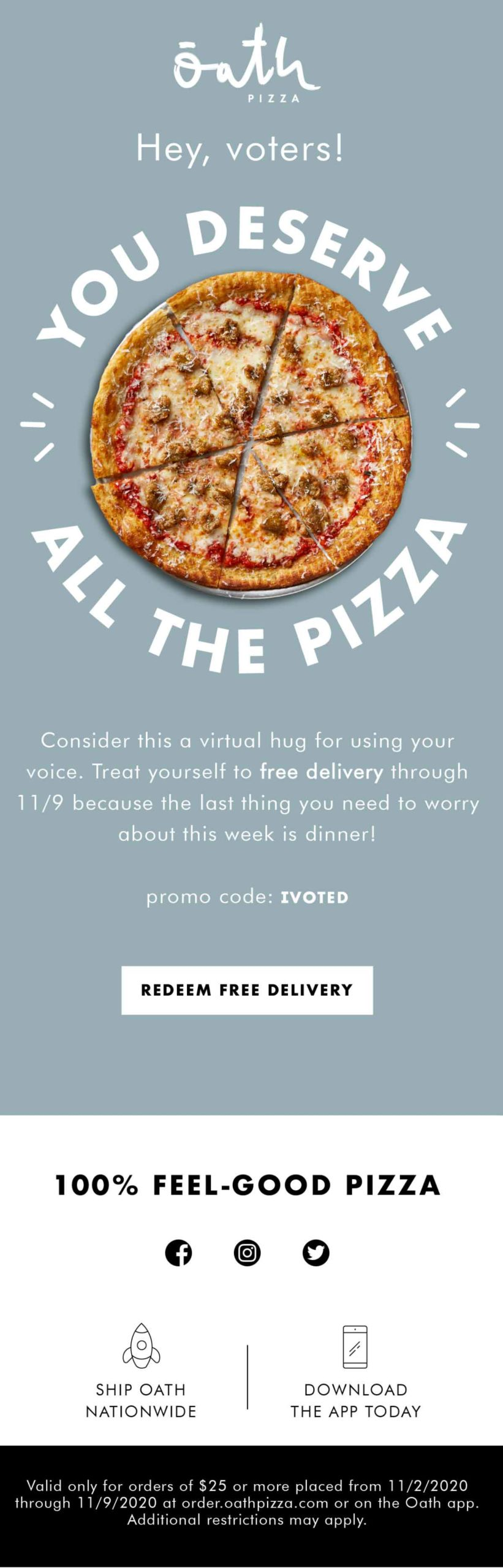 Oath Pizza hey voters email