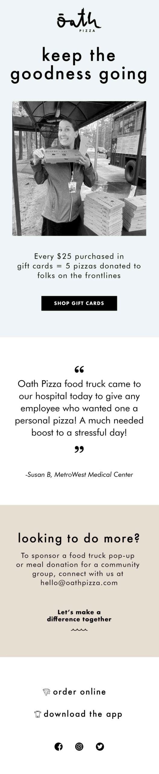 Oath Pizza: Fuel the Frontlines email