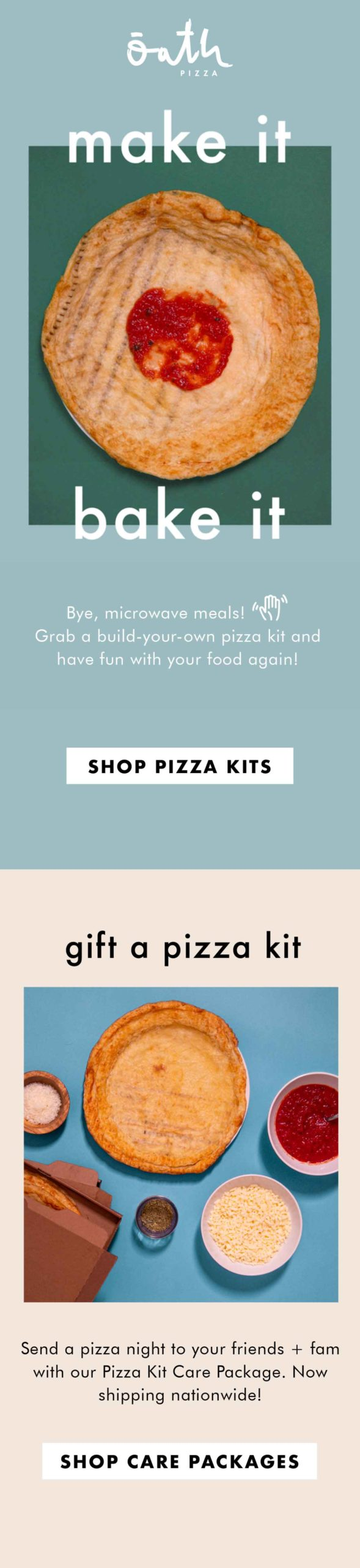 Oath Pizza: Pizza Kits Email