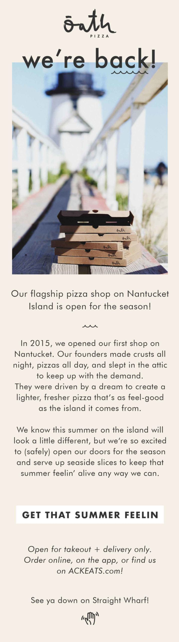 Oath Pizza: We're Back Email