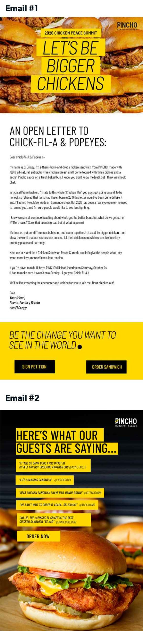 PINCHO Let's be bigger chickens campaign emails (2x)