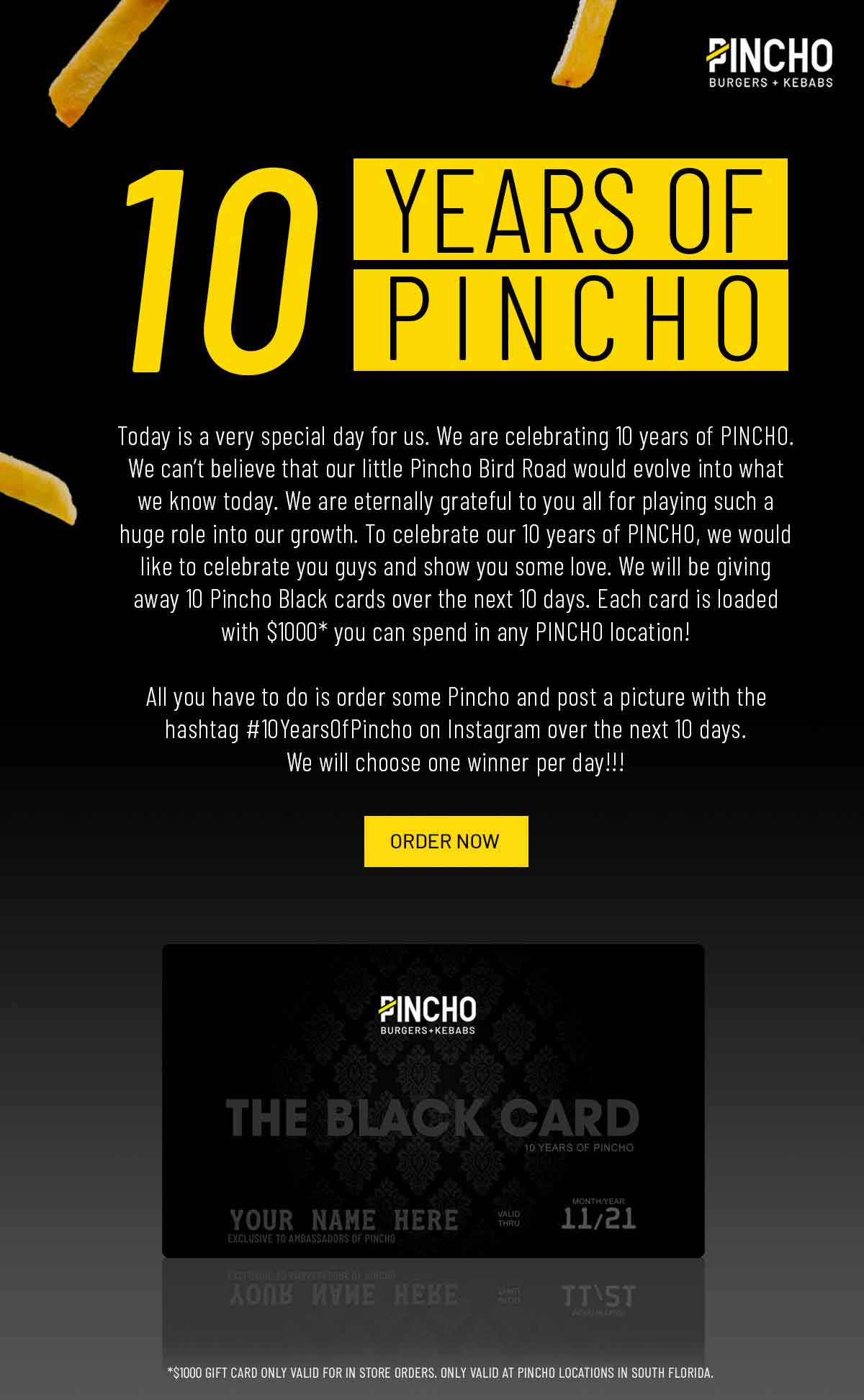 PINCHO 10 years card email