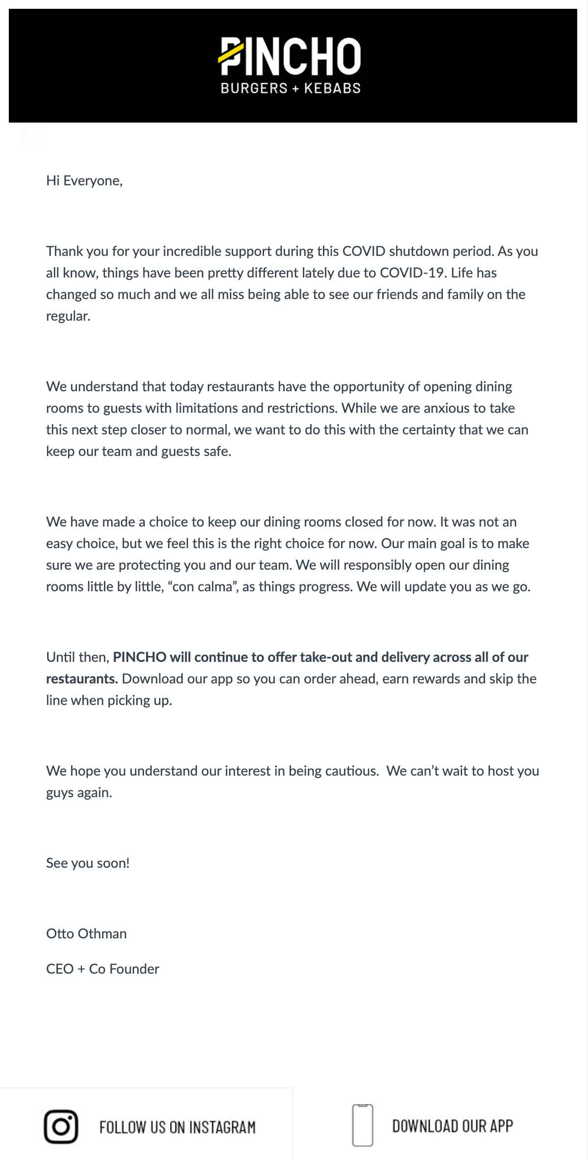 PINCHO: A Letter from our CEO Email