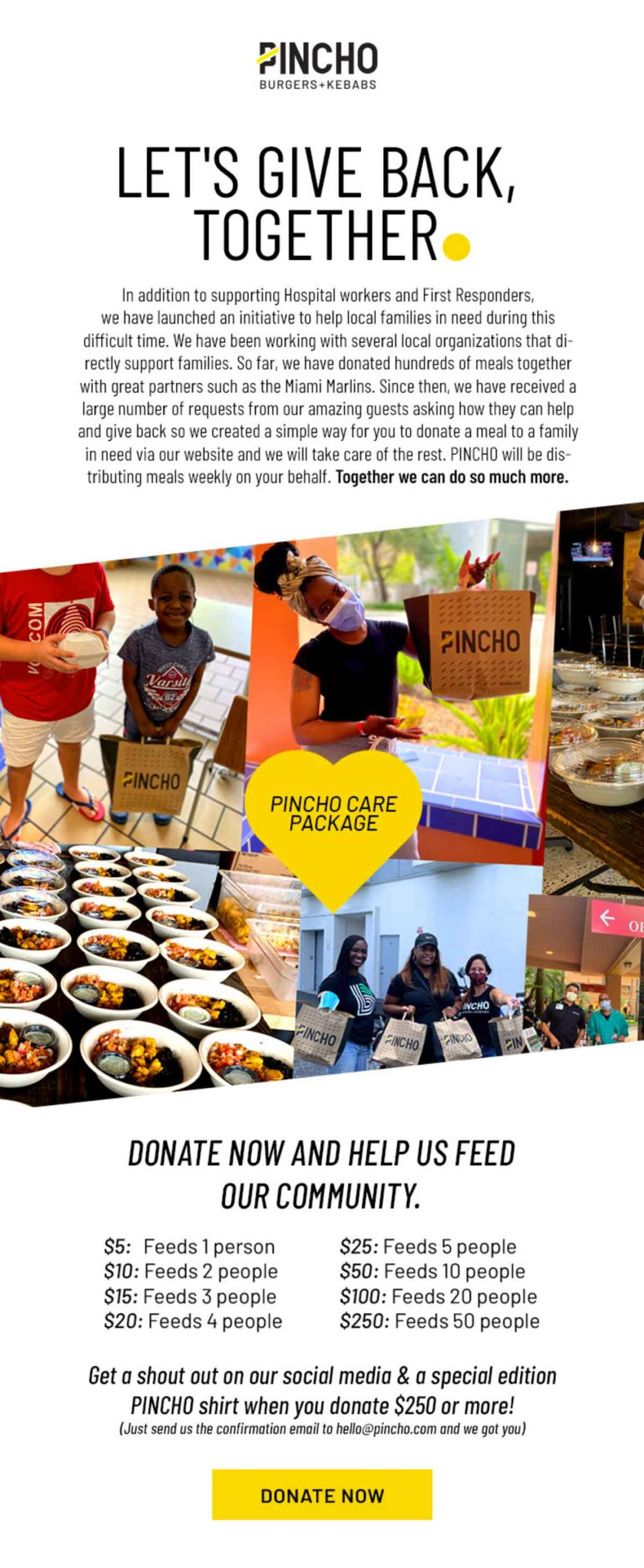 PINCHO: Let's Give Back Together Email