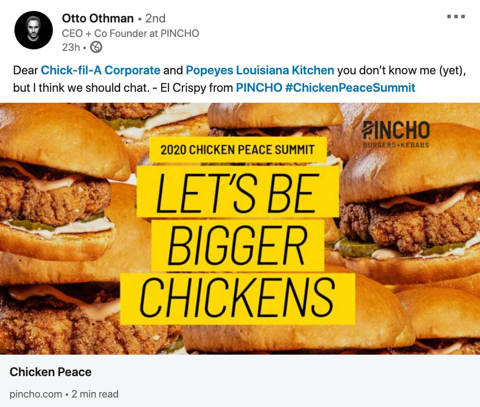 PINCHO Let's be bigger chickens campaign LinkedIn post