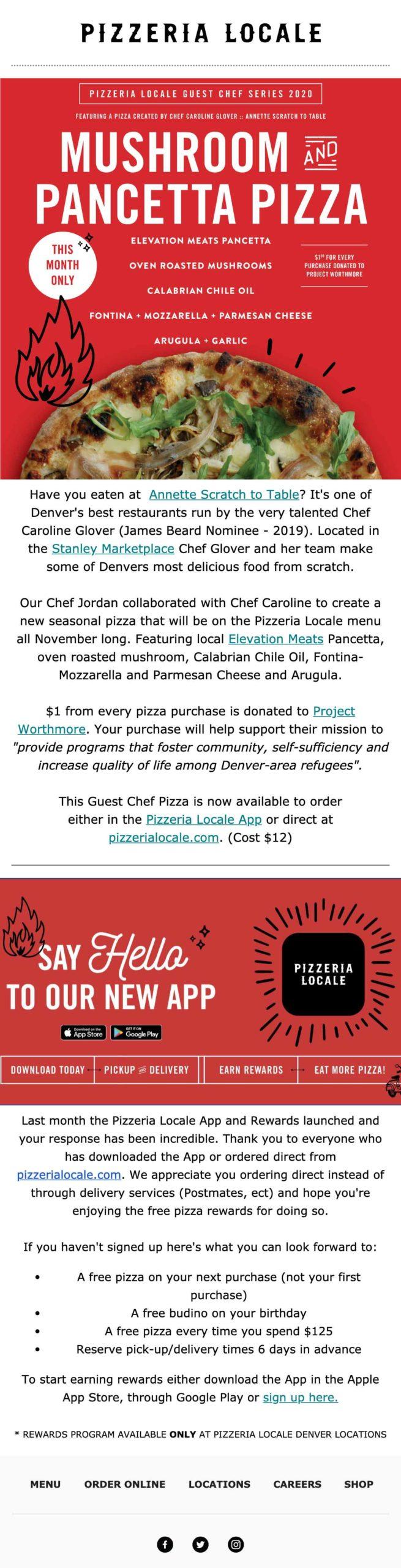 Pizzeria Locale new app email