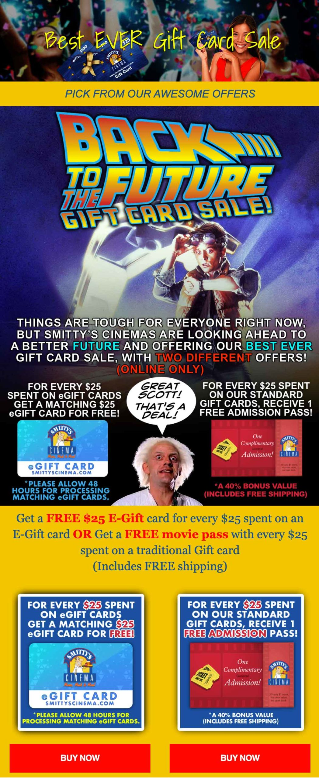 Smitty's Cinema Best Ever Gift Card Sale email
