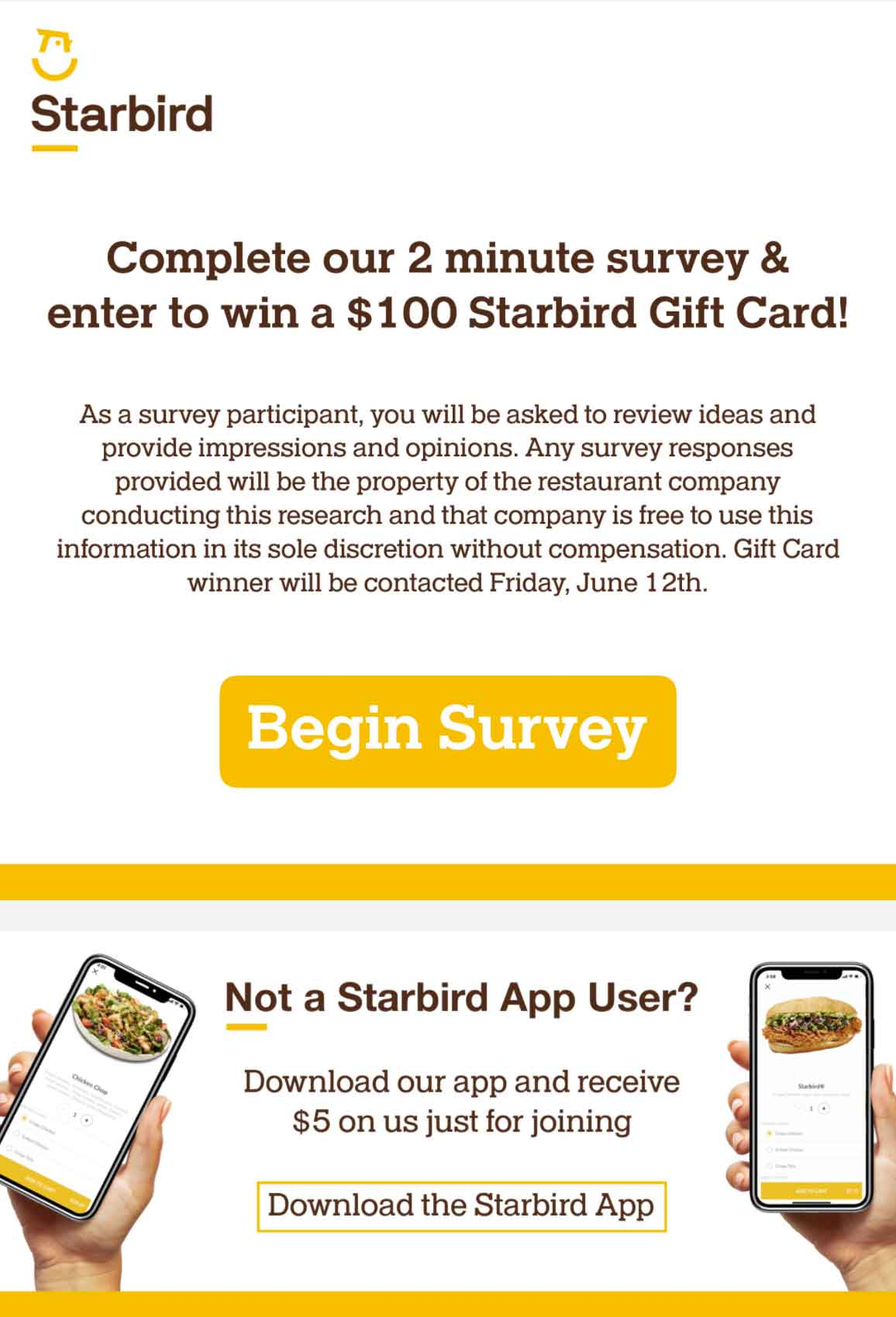 Starbird: Survey with Gift Card Email