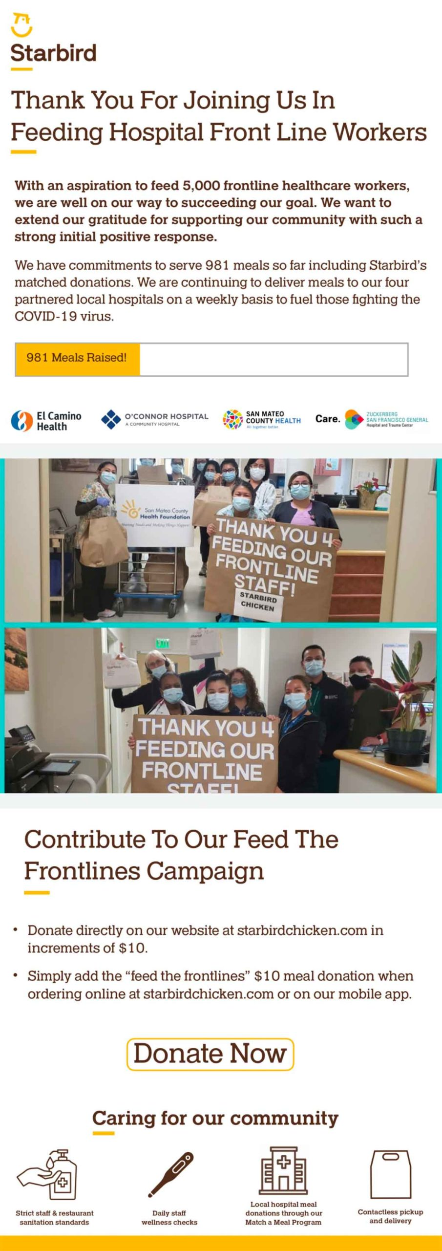 Starbird: Thank You For Feeding Our Frontlines email